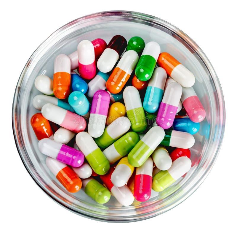 Vele verschillende gekleurde pillen royalty-vrije stock foto