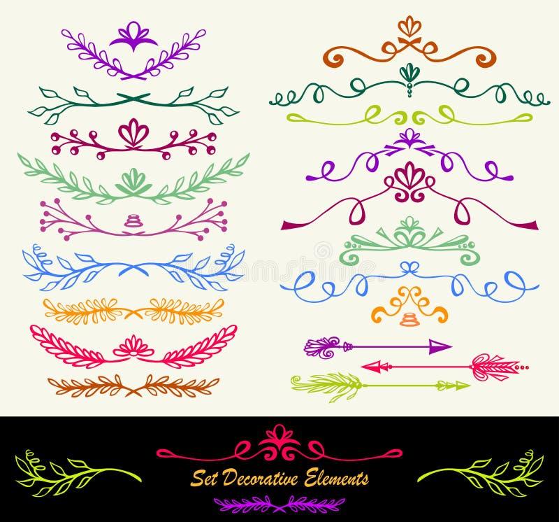 Vele verschillende hand getrokken bloemen kleurrijke verdelers van het inktornament vector illustratie