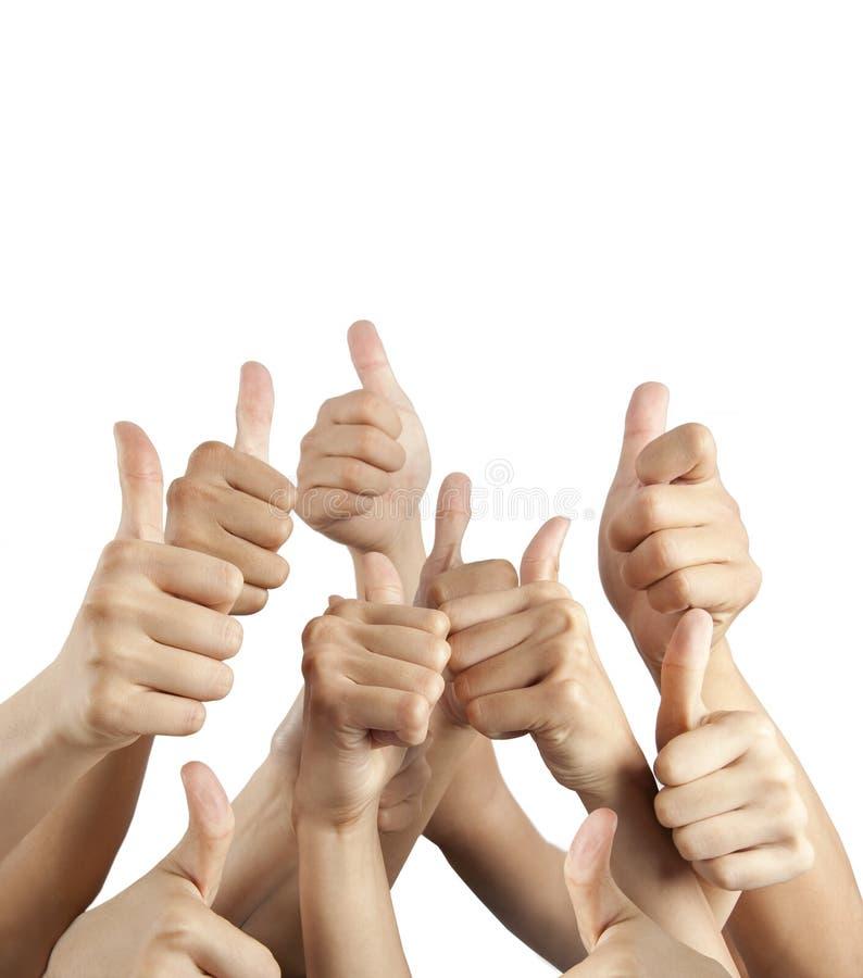 Vele verschillende handen met omhoog duimen royalty-vrije stock afbeelding