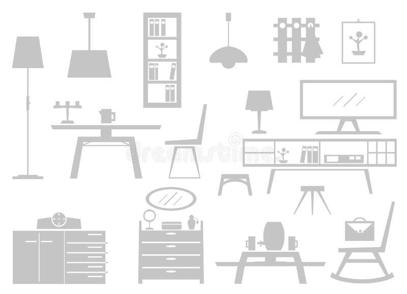 Vele verschillende meubels als vectorgrafiek royalty-vrije illustratie