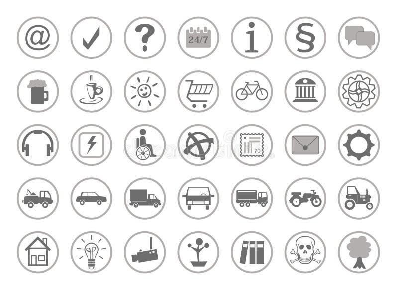 Vele verschillende pictogrammen voor de website stock illustratie