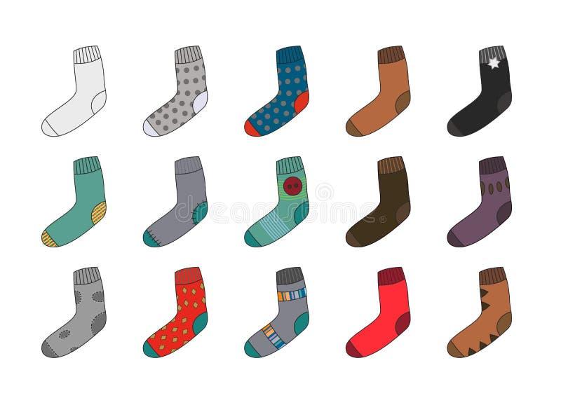 Vele verschillende sokken als klemart. vector illustratie