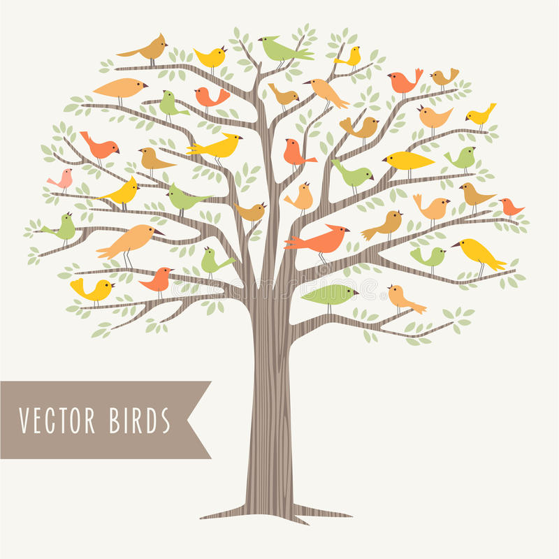 Vele verschillende vogels in een boom bij de lente royalty-vrije illustratie
