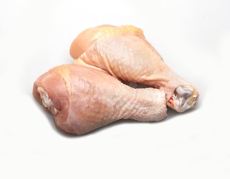 Vele verse kippenstukken Klaar te koken Witte achtergrond royalty-vrije stock foto