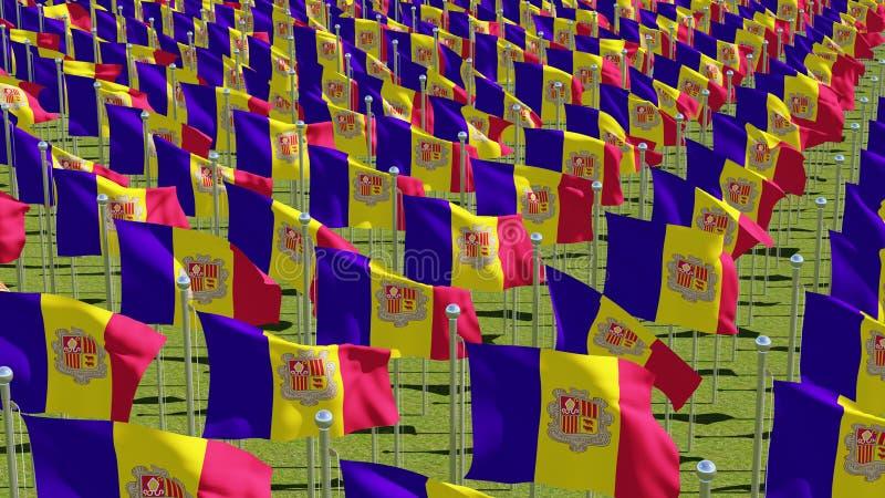 Vele vlaggen die van Andorra in de wind op groen gebied golven stock illustratie