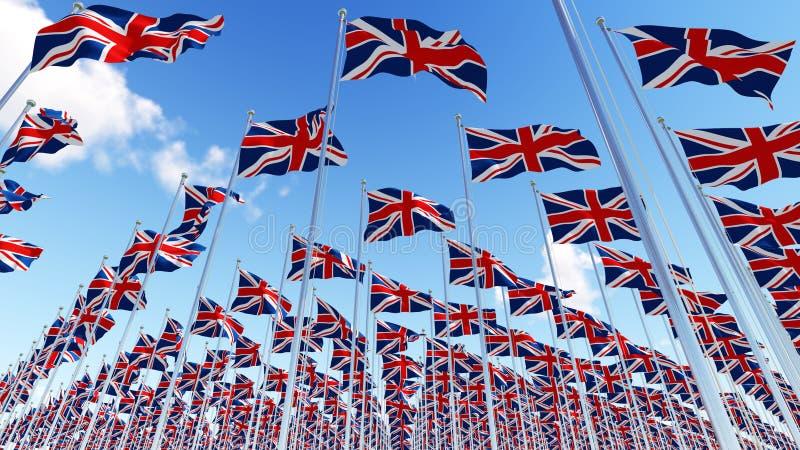 Vele vlaggen die van het Verenigd Koninkrijk in de wind in blauwe hemel golven royalty-vrije illustratie