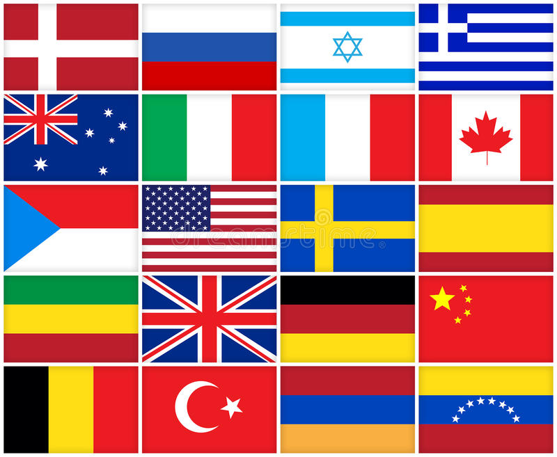 Vele vlaggen van verschillende landen stock illustratie