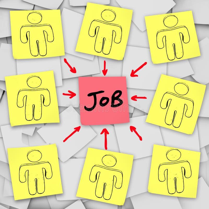 Vele Werkloze Kandidaten concurreren voor Één Baan stock illustratie