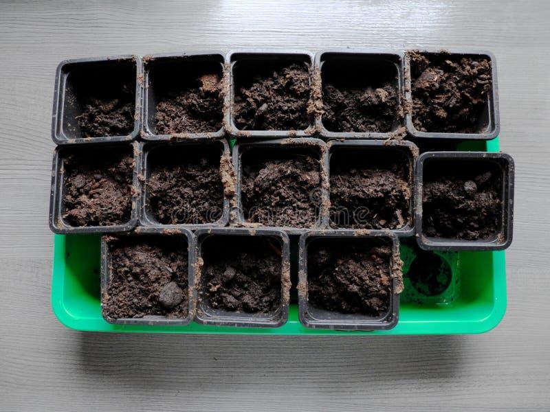 Vele zwarte dozen voor spruit in een speciale groene container Top down mening royalty-vrije stock foto's
