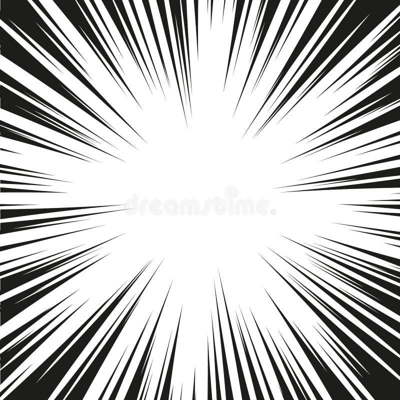 Vele zwarte grappige radiale snelheidslijnen op witte basis Effect de illustratie van de machtsexplosie Het grappige element van  royalty-vrije illustratie