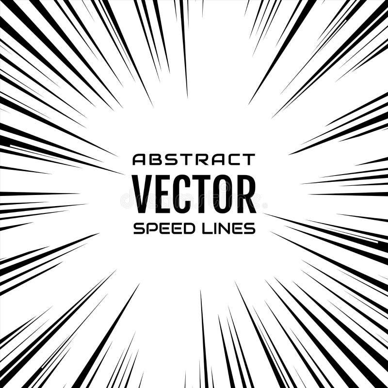 Vele zwarte grappige radiale snelheidslijnen op witte basis Explosie vector illustratie