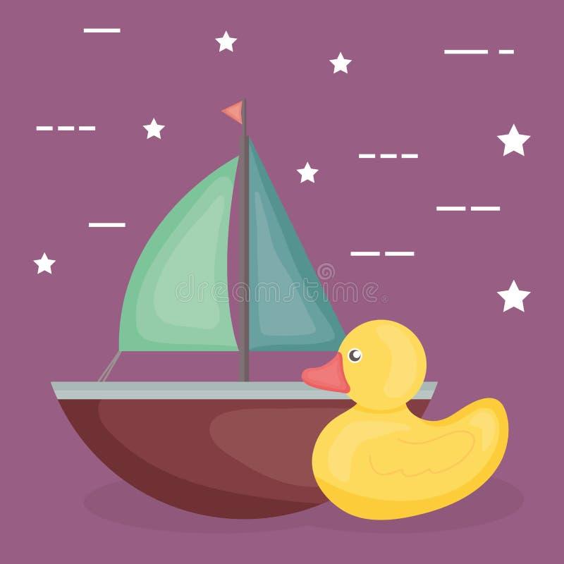 Veleiro e brinquedos ducky do bebê ilustração royalty free