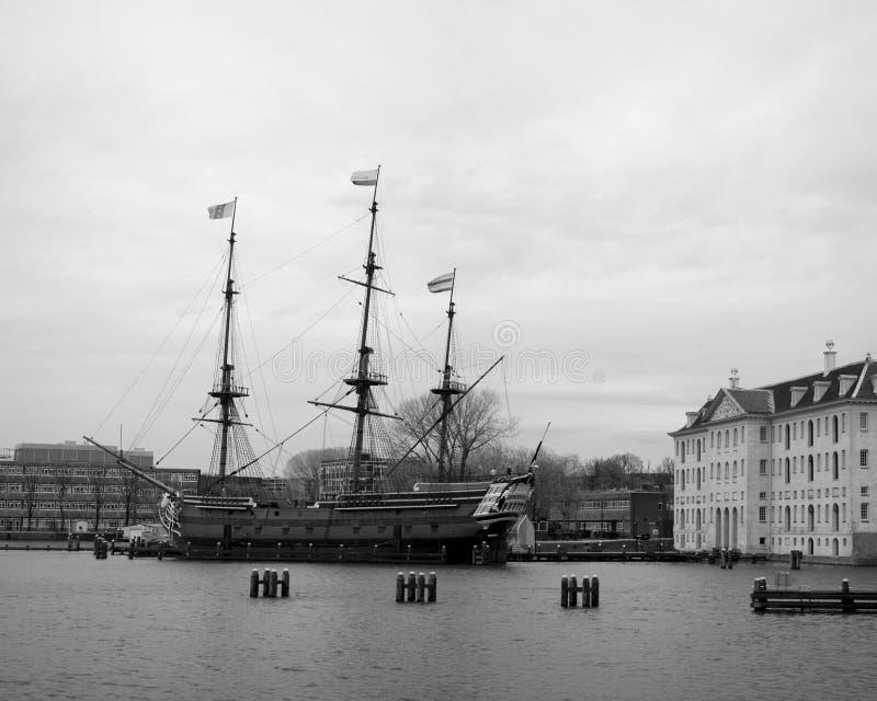 Veleiro histórico Países Baixos em preto e branco fotografia de stock royalty free