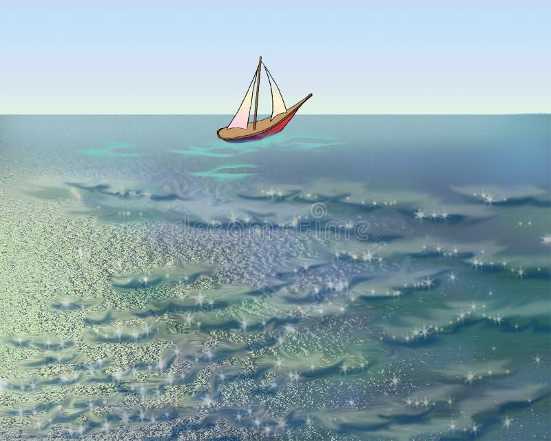 Veleiro no mar em uma manhã do verão ilustração royalty free