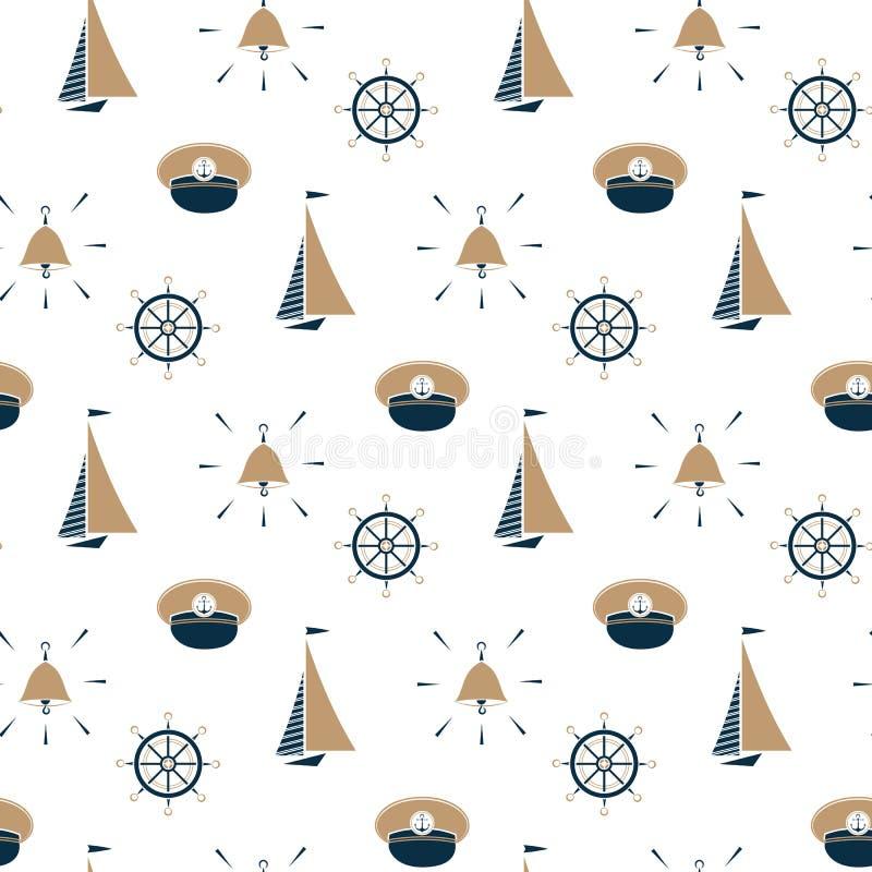Veleiro, sino do navio, chapéu do capitão, teste padrão sem emenda do volante ilustração stock