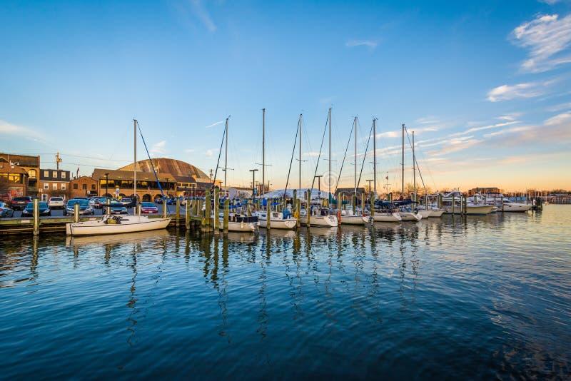 Veleiros em um porto no por do sol, em Annapolis, Maryland fotografia de stock