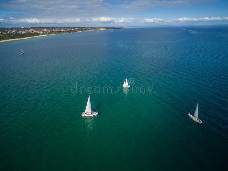 Veleiros que navegam na imagem da antena da península de Mornington foto de stock