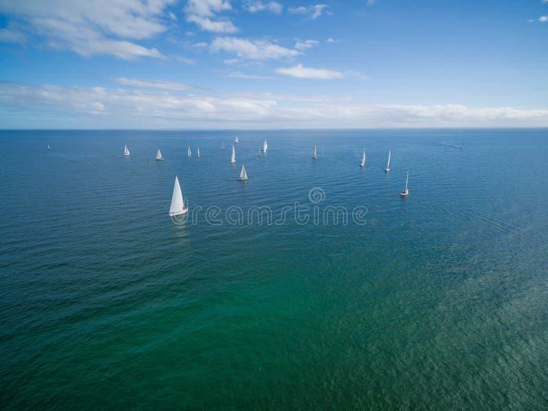 Veleiros que navegam na península de Mornington imagem de stock