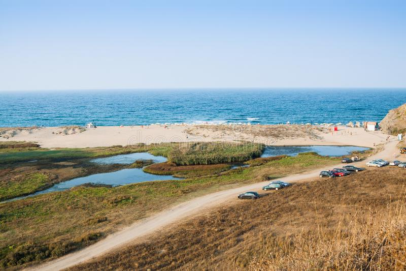 Veleka出海口在Sinemorets保加利亚,欧洲 图库摄影