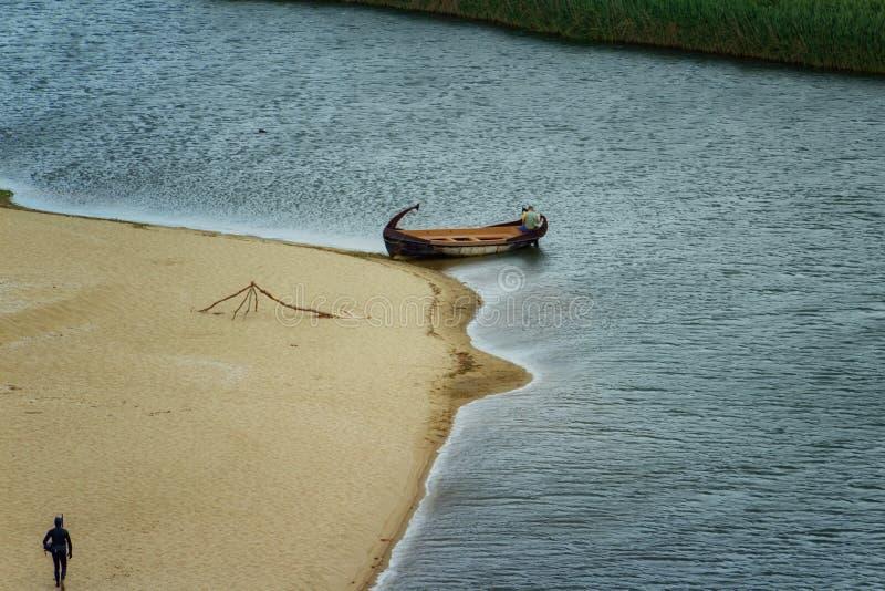 Veleka河出海口, Sinemorets村庄,保加利亚 免版税库存图片