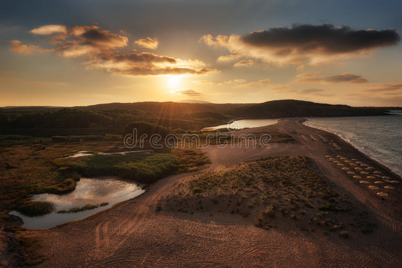 Veleka河出海口, Sinemorets村庄,保加利亚 免版税库存照片