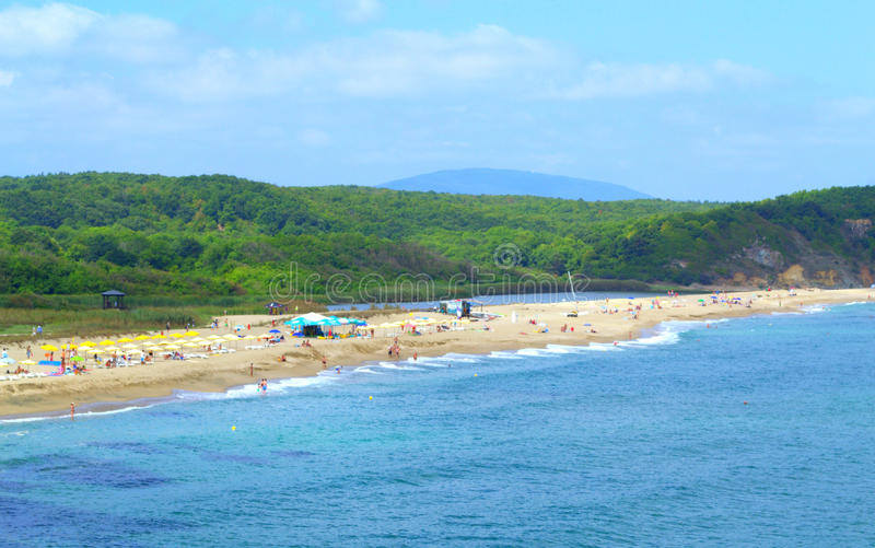 Veleka海滩, Sinemorets保加利亚 库存照片