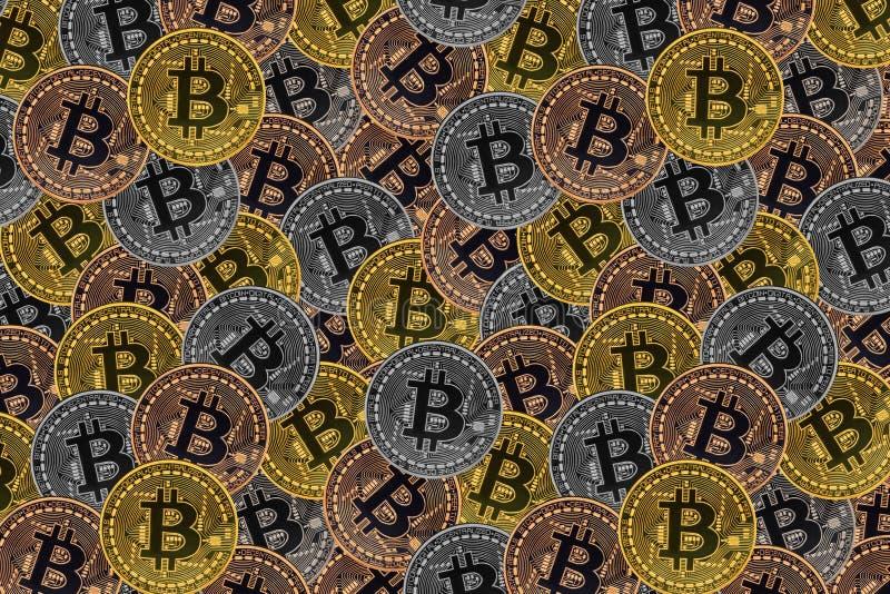 Velen bronzen, verzilveren en de gouden muntstukken met Bitcoin-teken, het is een cryptocurrencyachtergrond stock illustratie