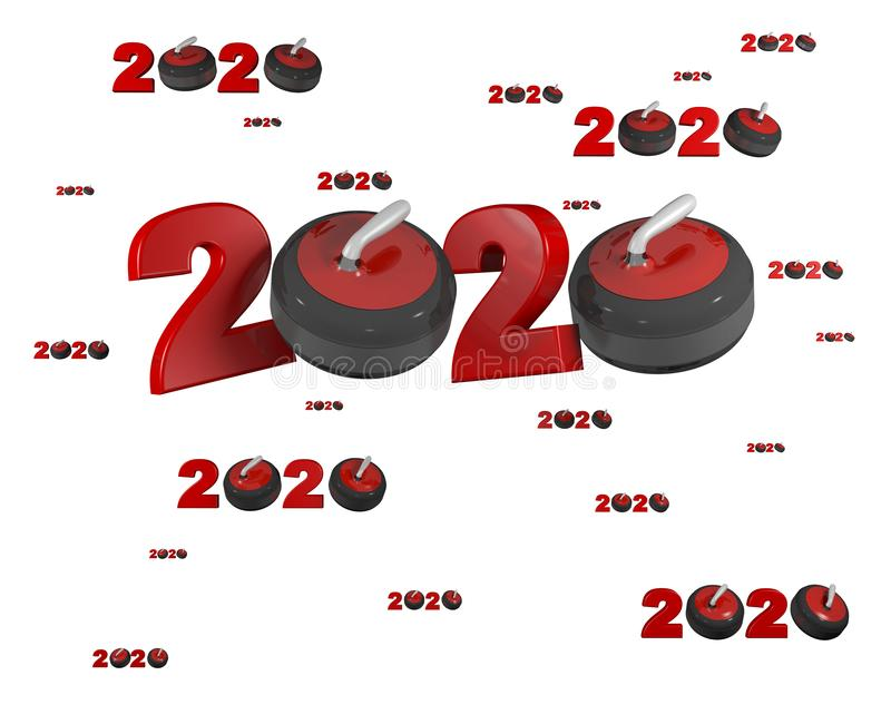 Velen die 2020 Ontwerpen met vele Stenen krullen stock illustratie