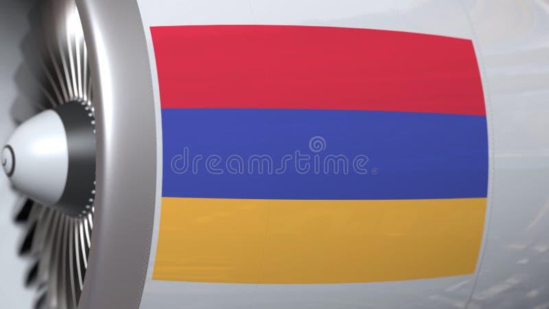 Velen golvende vlag van Armenië op de motor van lijnvliegtuigtourbine De luchtvaart bracht het 3D teruggeven met elkaar in verban royalty-vrije illustratie