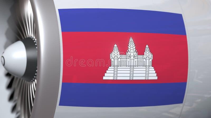 Velen golvende vlag van Kambodja op de motor van vliegtuigtourbine De luchtvaart bracht het 3D teruggeven met elkaar in verband royalty-vrije illustratie