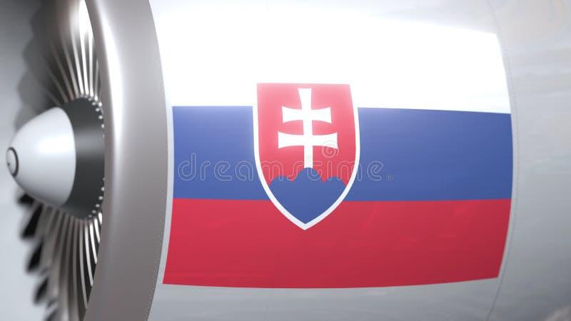 Velen golvende vlag van Slowakije op de motor van vliegtuigtourbine De luchtvaart bracht het 3D teruggeven met elkaar in verband royalty-vrije illustratie