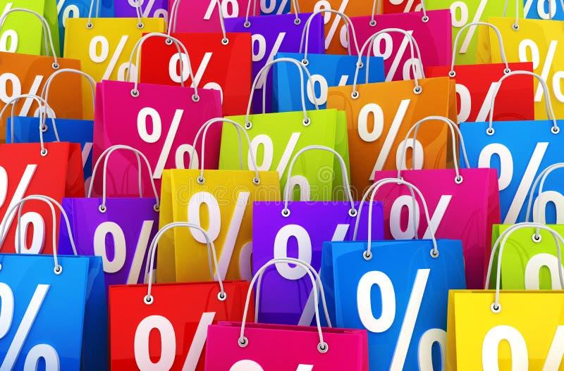 Velen het winkelen zak en percenten vector illustratie