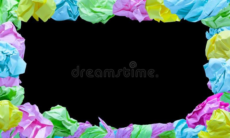 velen rimpelden kleurendocument kader op blauwe achtergrond royalty-vrije stock afbeelding