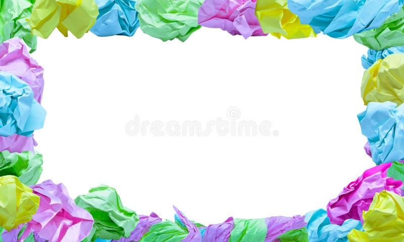 Velen rimpelden kleurendocument kader op witte achtergrond, knippend weg royalty-vrije stock foto