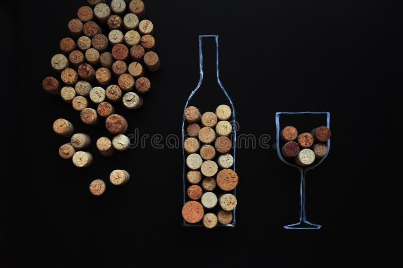Velen rubberwijn kurken achtergrond stock afbeelding