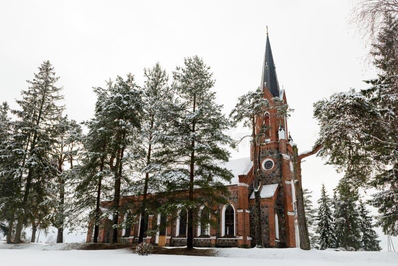Velena Ev Lutheran Kerk in Letland bij de winter stock foto