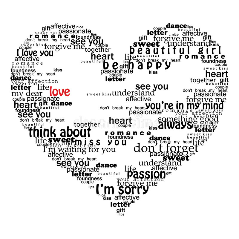 Velentine heart made of love words stock illustration