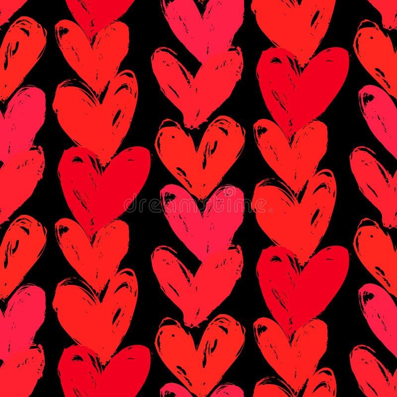 Velentines dagmodell med hand målade hjärtor. vektor illustrationer