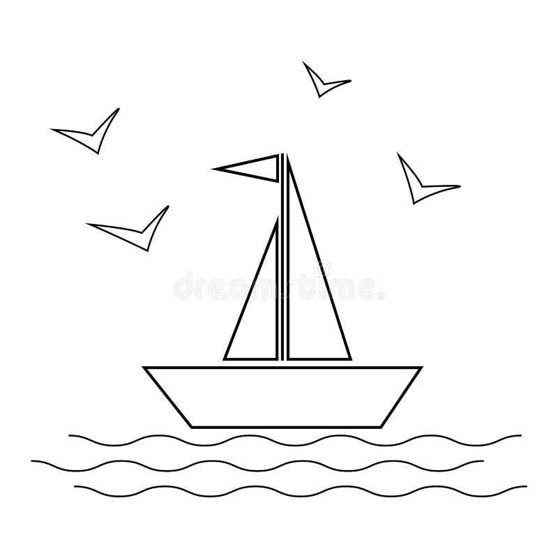 Velero con las ondas y ejemplo del vector del icono de las gaviotas en el fondo blanco l ilustración del vector
