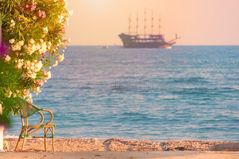 Velero de la travesía en el mar en la puesta del sol en horizonte imagen de archivo libre de regalías