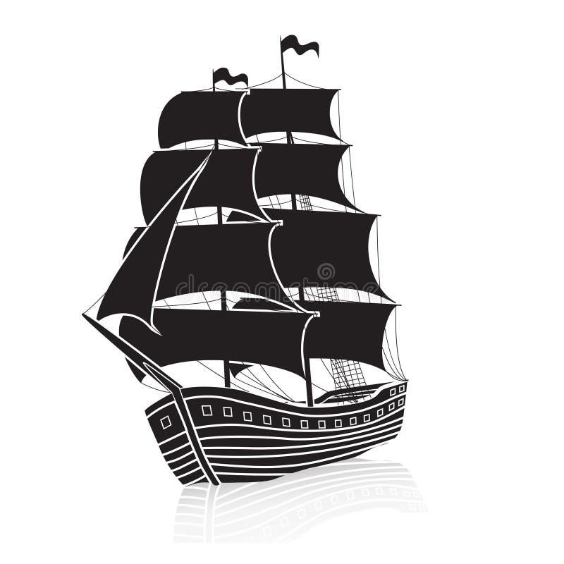 Velero del vintage en el mar con la reflexión ilustración del vector