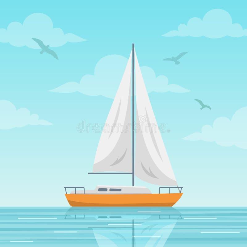 Velero en el ejemplo del vector del mar libre illustration