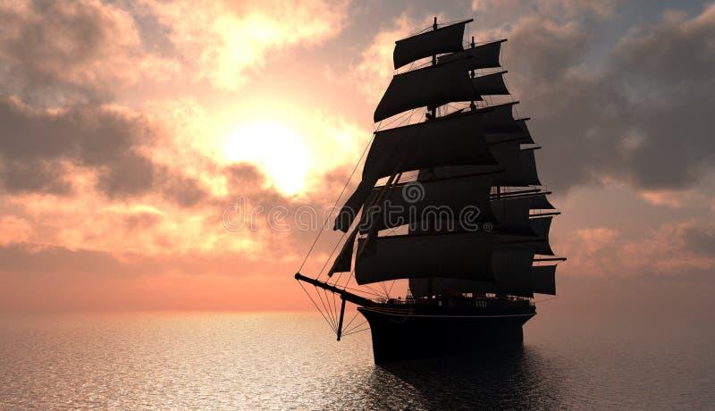 Velero en el mar. stock de ilustración
