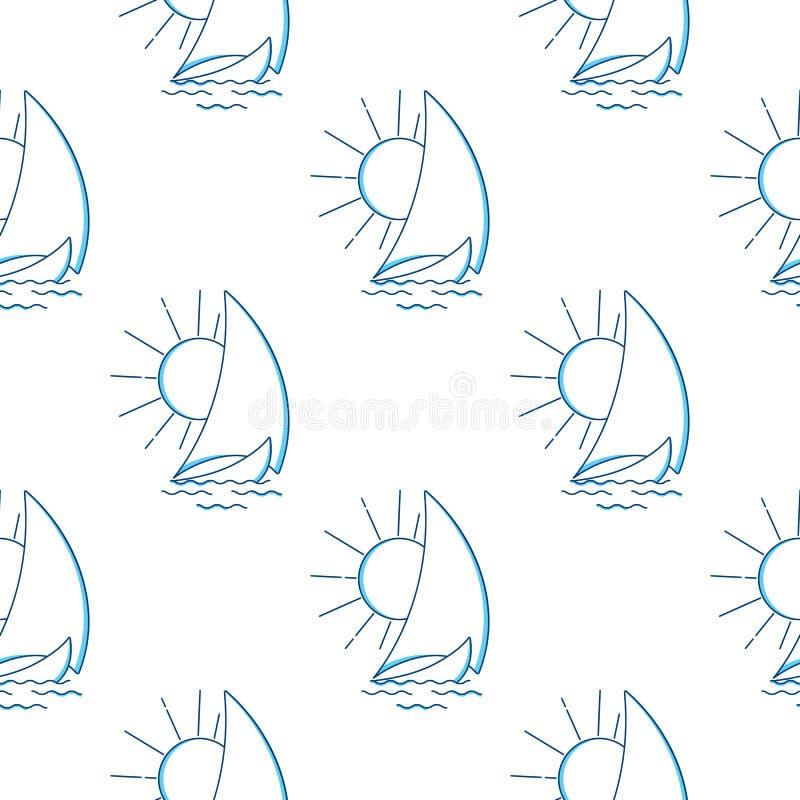 Velero en las ondas contra el modelo inconsútil del sol naciente Icono del vector en la línea estilo del arte Viaje, transporte ilustración del vector