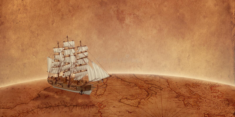 Velero en mapa de Viejo Mundo Concepto de una búsqueda para el tesoro y los nuevos descubrimientos fotografía de archivo libre de regalías