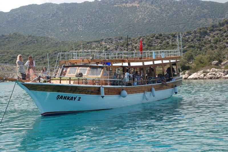 Velero hermoso en el mar Mediterráneo en pavo fotografía de archivo libre de regalías