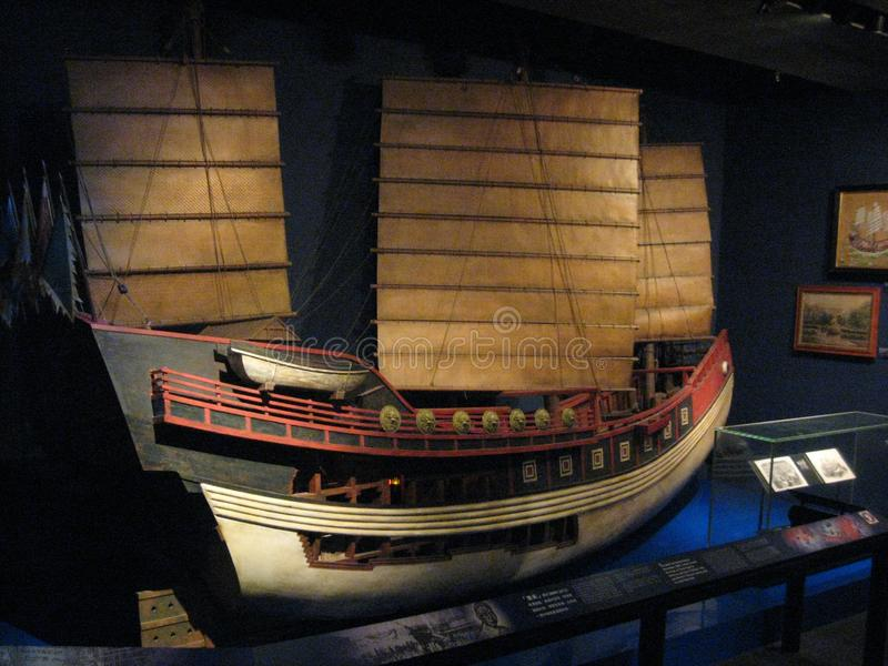 Velero modelo en el museo marítimo de Hong Kong imagen de archivo libre de regalías
