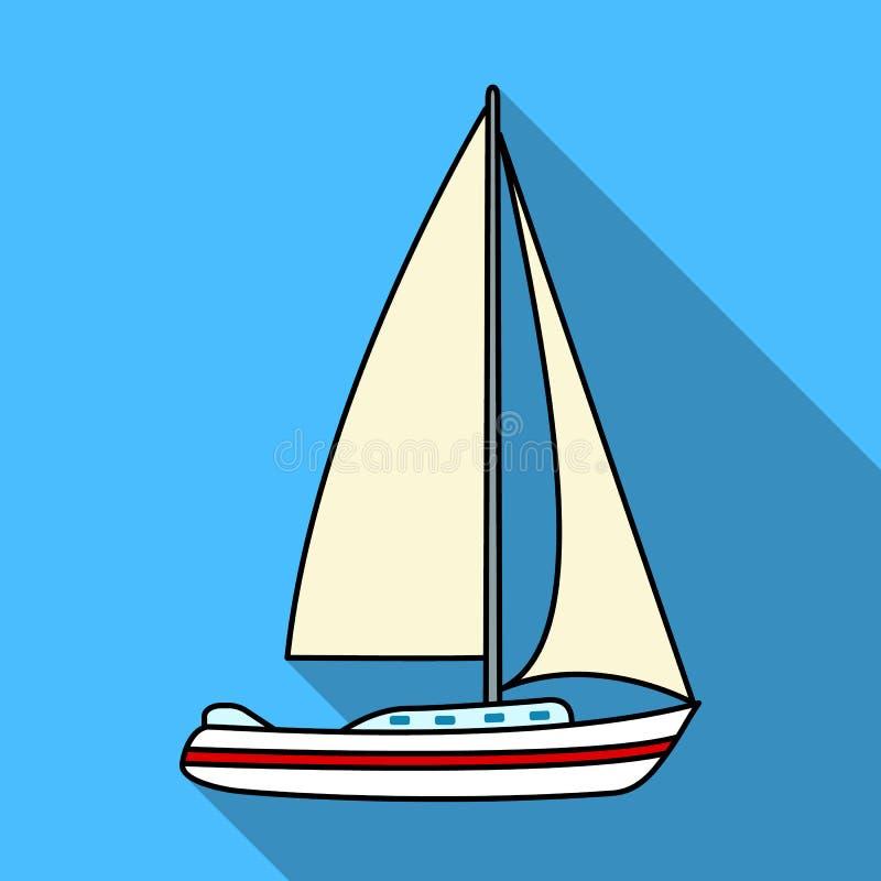 Velero para navegar Barco a competir en la navegación La nave y el agua transportan el solo icono en la acción plana del símbolo  ilustración del vector