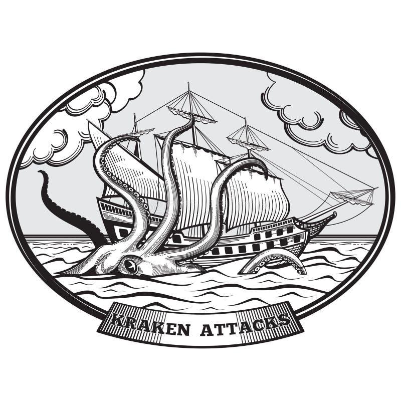 Velero y vector del pulpo del monstruo de Kraken stock de ilustración