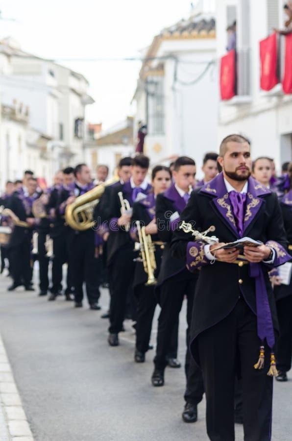 VELEZ-MALAGA,参加的西班牙- 2018 3月25日,人 库存照片